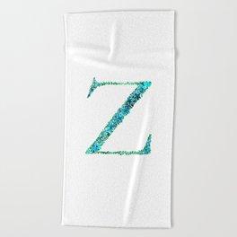 Floral Monogram Letter Z Beach Towel