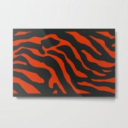 Tiger Skin Pattern Red Metal Print