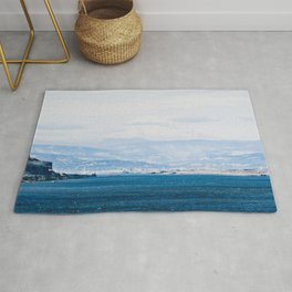 Lake and Mountain Cap // Grainy Foggy Blue Landscape Photography in Beautiful Oregon Rug