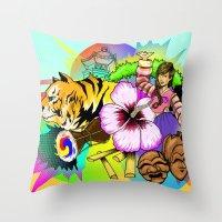 korea Throw Pillows featuring A Taste of Korea by J. Lee