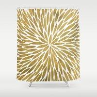 golden Shower Curtains featuring Golden Burst by Cat Coquillette