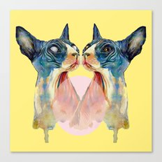 two cats on yellow Canvas Print