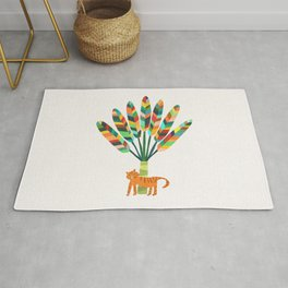 Whimsical travelers palm with tiger Rug