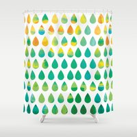 rain Shower Curtains featuring Monsoon Rain by Picomodi