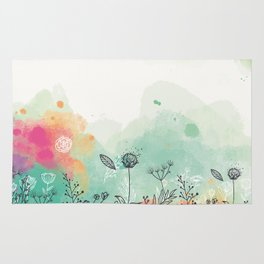 Cute floral background in watercolor style Rug