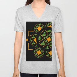 Orange and Green Spaces 105 Unisex V-Neck