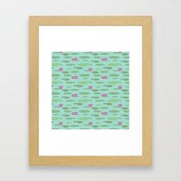 Large Vintage Florida Lily Pad Pattern Framed Art Print