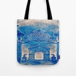 Ancient Church In Aqua Blue Tote Bag