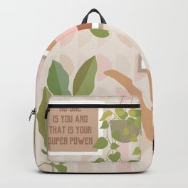 Yoga Girl Power with cat & plants Backpack