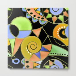 Abstract black green , colorful ornament . Metal Print