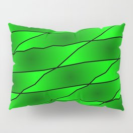 Slanting iridescent lines and rhombuses on green with intersection of glare. Pillow Sham