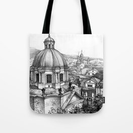 Prague over the rooftops Tote Bag