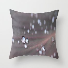 Drops on a Leaf Throw Pillow
