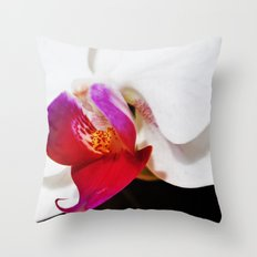 White and Purple Orchid Throw Pillow