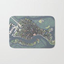 Venice city map engraving Bath Mat