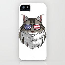 Patriotic Maine Coon Cat Merica American Flag iPhone Case
