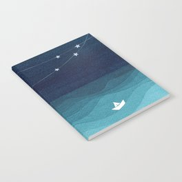 Garlands of stars, watercolor teal ocean Notebook