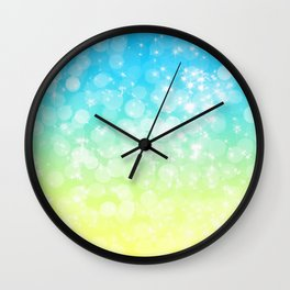 Blue and Yellow Bokeh Wall Clock
