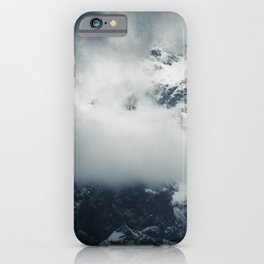 Darkness and mysterious clouds over the mountain iPhone Case