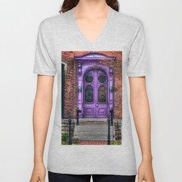 Purple Doorway, Brick Brownstone Unisex V-Neck