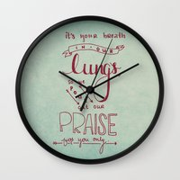 lungs Wall Clocks featuring LUNGS by Lex Bleile