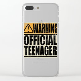 """A Birthday Tee """"Warning! Official Teenager"""" T-shirt Design Youth Teens Happy Natal Day Sign Teen Clear iPhone Case"""