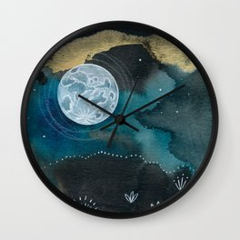 Moon Series #6 Watercolor + Ink Painting Wall Clock