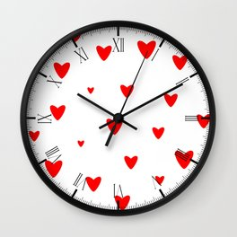 Red Hearts Background Wall Clock