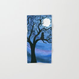 Meowing at the moon - moonlight cat painting Hand & Bath Towel