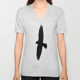 Jackdaw In Flight Silhouette Unisex V-Neck