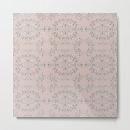 silver filigrane- floral design-tapestry and home decor-romantic -pink Metal Print