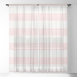 Pink Coral Stripes Sheer Curtain