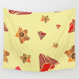 Snazzy Fall Flowers on Creme Wall Tapestry