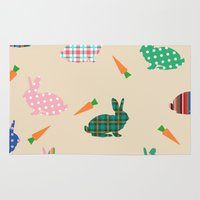 rabbits Area & Throw Rugs featuring rabbits by vitamin