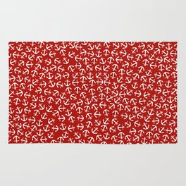 Maritime small Nautical Red and White Anchor Pattern - Anchors on #Society6 Rug