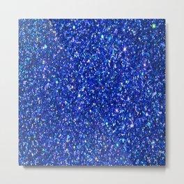 Blue Glitter Metal Print