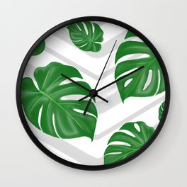 Monstera on chevrons Wall Clock