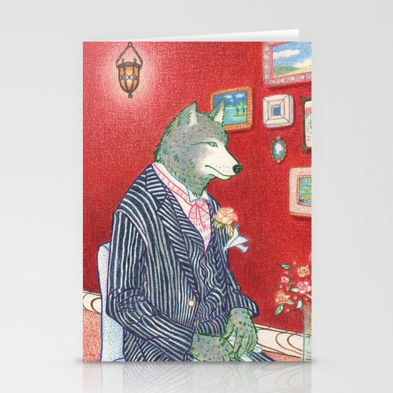 Everyday Animals - Mr Wolf gets ready for his wedding Stationery Cards