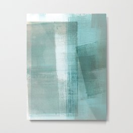 Turquoise Aqua Taupe Geometric Abstract Painting 3 Metal Print