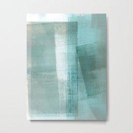 Turquoise Aqua Taupe Geometric Abstract Painting 3 Metal Print