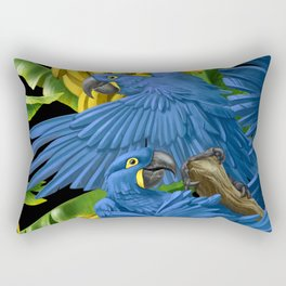 Hyacinth Macaws and bananas Stravaganza (black background). Rectangular Pillow
