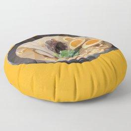 Japanese Tonkotsu Ramen Polygon Art Floor Pillow