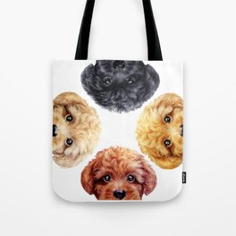 Toy poodle friends mix, Dog illustration original painting print Tote Bag