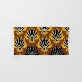 ART DECO YELLOW BLACK COFFEE BROWN AGAVE ABSTRACT Hand & Bath Towel