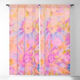 far out! pink floral tie dye Blackout Curtain