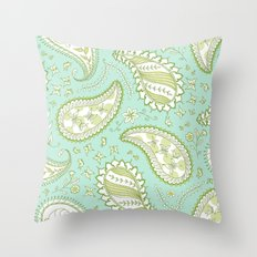 Pretty Paisley - Aqua/Green Throw Pillow