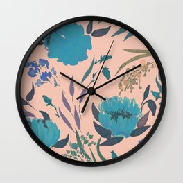 hand draw watercolor floral pattern design Wall Clock