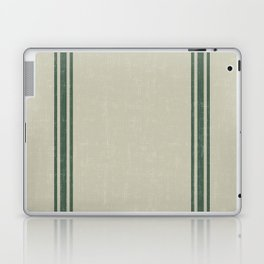 Vintage Country French Grainsack Green Stripes Linen Color Background Laptop & iPad Skin