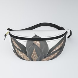 Gray Black Agave with Gold Glitter #2 #shiny #tropical #decor #art #society6 Fanny Pack