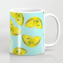 Lemon Slices Pattern Turquoise Coffee Mug